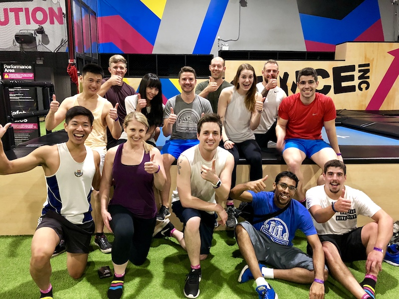 Buffer employees gathered after a workout