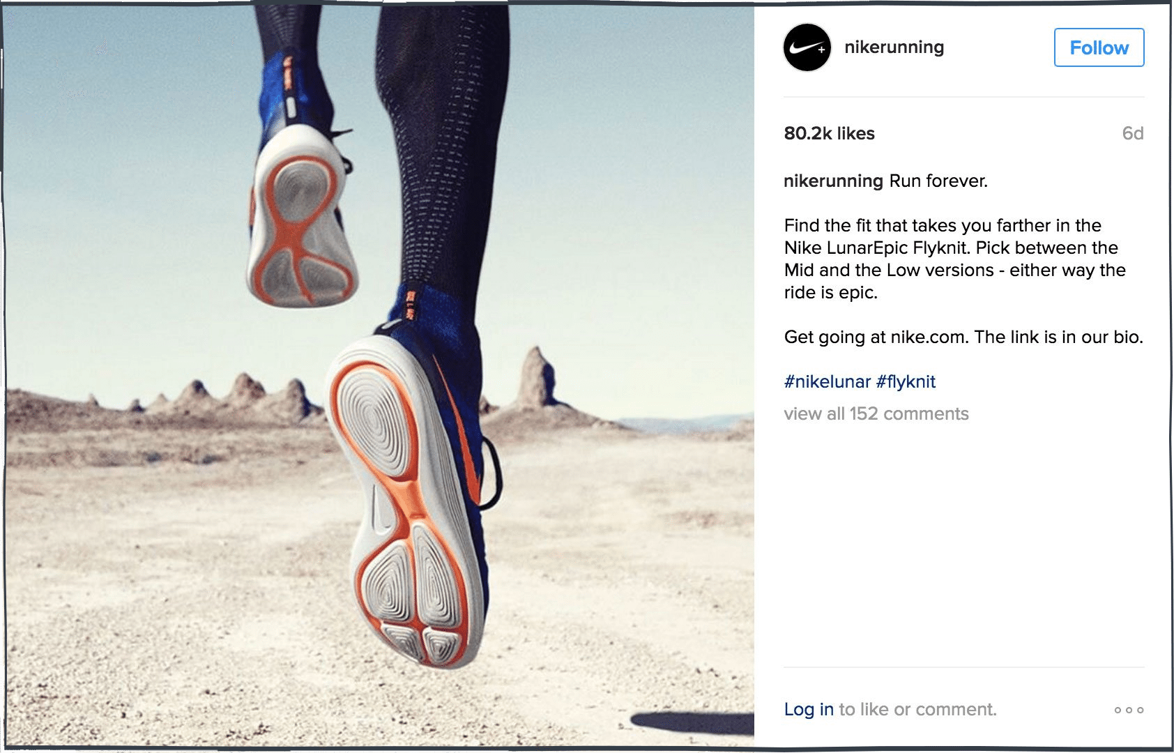 For example, Nike Running often make their trainers and running equipment  the focal point of their content: