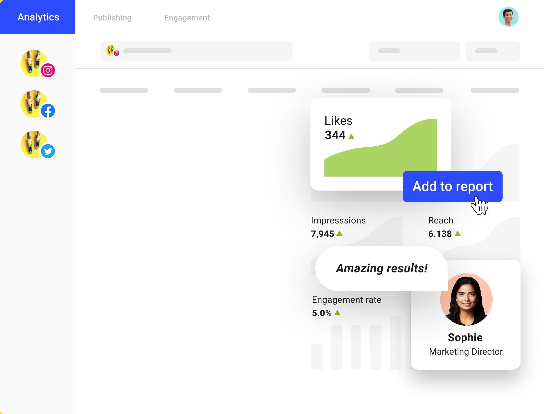 illustration of Buffer's social media analytics reporting tool