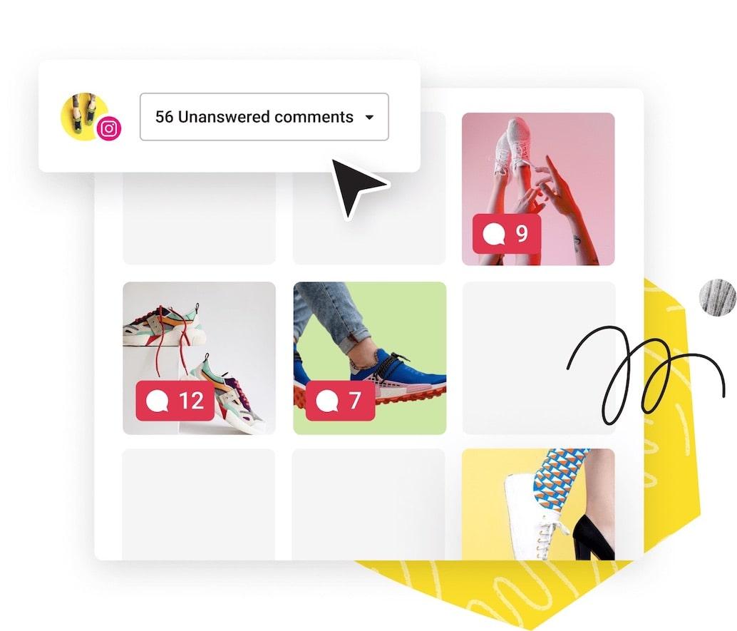 Illustration of several instagram screenshots