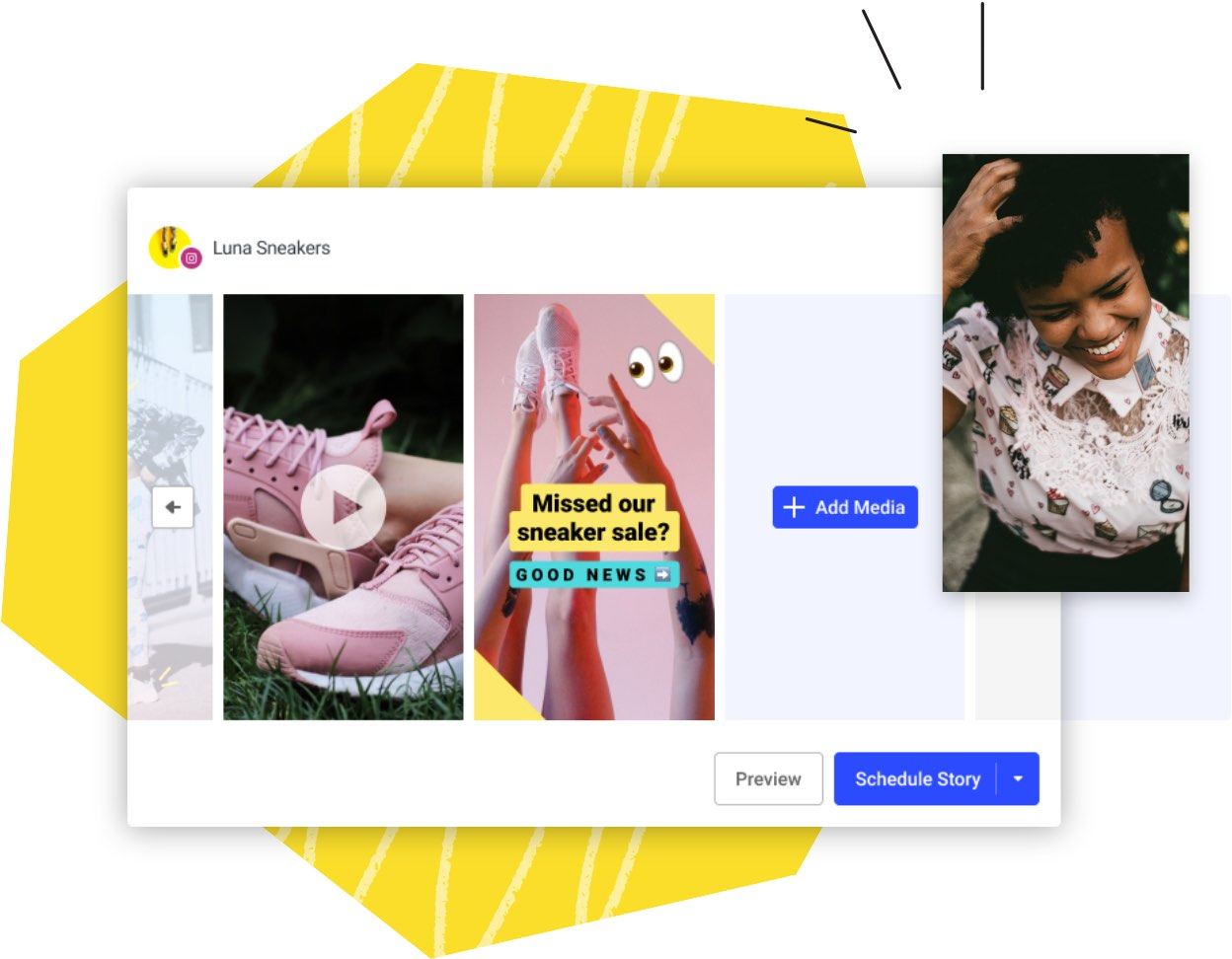 Image of creating instagram stories in Publish